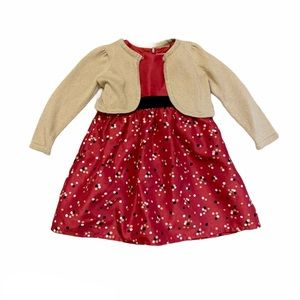 Gymboree Red Holiday Party Dress Gold Cardigan 2T